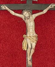 Kruzifix?18. Jh.?Christus im Dreinageltypus, über ihm