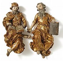 Apostel Johannes und Paulus?18. Jh.?Vollrund geschnitzte, rückseitig abgefl