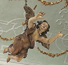 Engel?Süddeutschland, 18. Jh.?Schwebende, vollplastisch geschnitzte Figur i