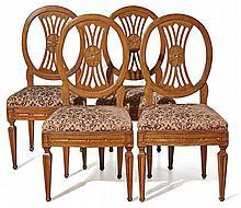Folge von vier Medaillon-Stühlen ?Deutschland, letztes Viertel 18. Jh.?Auf