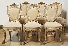 Satz von sechs Louis-XVI-Stühlen?Lucca, um 1800?Auf vorderen Ball- und Klau