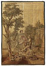 Wandteppich?Aubusson, um 1800?Galante Szene im Park, im Zentrum junges Paar