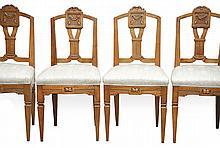 Satz von vier Louis-XVI-Stühlen?Um 1800?Auf konischen Vierkantbeinen und Za
