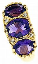 Ring, set with three faceted oval amethyst with four small accent diamonds, in 14k yellow gold, size 5, 7.5g TW