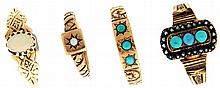 Rings- 4 (Four), Victorian, the first in rose gold with 3 small turquoise beads and decorative chasing, marked 14k, size 7, the second with three turquoise beads surrounded by seed pearls, gold filled, size 7, the third with a small round opal in a