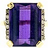 Ring, 29.25 carat emerald cut amethyst bordered by 12 small diamonds, set in 14 k yellow gold, size 8 1/2, 12.2g TW, 20th century