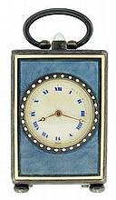 G.C.Co., Switzerland, miniature quarter repeating carriage clock, 8 days, 12 jewel key wind gilt movement with lever platform, repeating the hours and quarters at will, stunning blue guilloche decorated silver case, the panels with white borders,