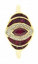 Dinner ring with tiered setting, 14 karat yellow gold set with rubies and diamonds, size 10 3/4, 3.6g TW