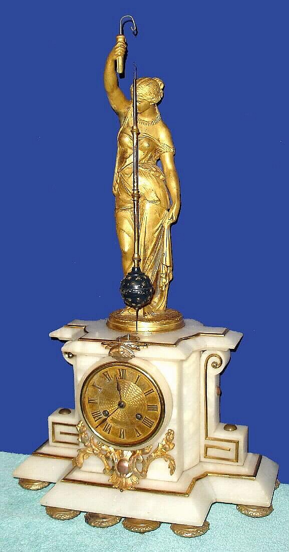 C 1880 French Conical Pendulum Mysterious Clock Gilt Spel