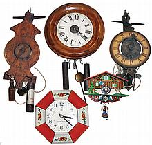 Clocks- 11 (Eleven) Hanging. mostly weight-driven: Includes Columbus, 1892, 2 blue/white China, Seth Thomas Miniature Banjo, Owl Moving Eyes, Postal Clock, Bouncing Doll, etc., most 20th century.