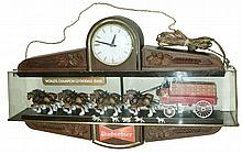 Budweiser plastic plug-in electric hanging advertising clock with