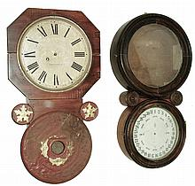 Clocks- 2 (Two): (1) Baird Clock Co., Plattsburgh, NY, Advertising Clock, 8 days, time only, movement in a wall hanging case, c1890. (2) E. Ingraham & Co., Bristol, Conn.