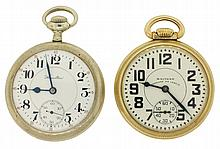 Pocket watches- 2 (Two): Waltham Vanguard 16 size, 23 jewel, nickel movement in a yellow gold filled open face case, serial #32166758; Hamilton 992 16 size, 21 jewel, nickel movement in a nickel open face case, s#114624