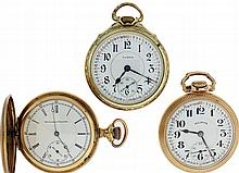 Pocket watches- 3 (Three): all 16 size Illinois, a 17 jewel Getty model for Montgomery Ward, gold filled hunting case, serial #1363230, and two 60 hour, 21 jewel Bunn Special, both in open face gold filled Bunn Special cases, serial #5020673, 4999345