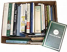 Books- 31 (Thirty-one) on Watches mostly hardcover classics with additional pamphlets, one box. Authors include Jaquet & Chapuis, Meis, Clutton & Daniels, Cardinal, Pippa, Priestly, Daniels (Watchmaking), Hernick, Camerer-Cuss, Kaltenbock & Schwank,