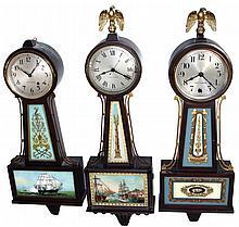 Clocks- 6 (Six) American banjo wall clocks: (1) Seth Thomas