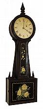 Attleboro style banjo clock, mahogany case with wooden side arms, turned mahogany bezel and finial, beveled throat and box frames, reverse painted glasses, Roman numeral white painted sheet iron dial, moon hands, brass, 8 days, timepiece movement,