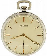 Agassiz, Geneva, Switzerland, man's thin dress watch, 21 jewels, stem wind and set, adjusted to 6 positions, temperature and isochronism, cotes de Geneve decorated, nickel bar movement with lever escapement, cut bimetallic balance, double roller in a