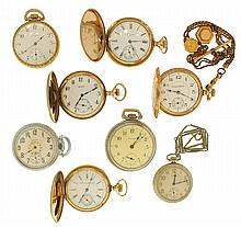 Pocket watches- 8 (Eight): Makers including Waltham, Elgin, Hampden, and a Swiss contract watch, 18, 16 and 12 size, 15 - 17 jewels, hunting and open face cases, 2 with gold filled chains