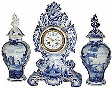 French Delft-style, 8 days, time and strike, mantel clock with pair of urns with lids, c1890