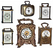 Clocks- 6 (Six) small portable carriage clock timepieces: first and rarest is the Swiss, 8 days,