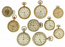 Pocket watches- 10 (Ten). American makers including Waltham, Elgin and Hampden, 18, 16 and 12 size