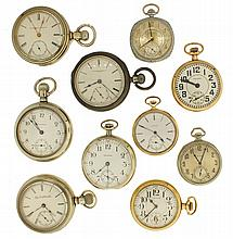 Pocket watches- 10 (Ten). American makers including Waltham, Elgin and Rockford, 18, 16 and 12 size, one with sterling silver case
