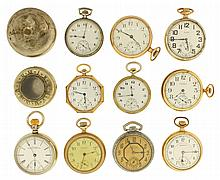 Pocket watches- 10 (Ten). American makers including Waltham, Elgin, Hampden, and Burlington, 16 and 12 size, and 2 protective cases for pocket watches