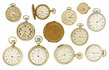 Pocket watches- 12 (Twelve). American makers including Waltham, Elgin and Hampden, 18, 16 , 12, 6 and 0 size, and an English verge fusee, in a brass hunting case