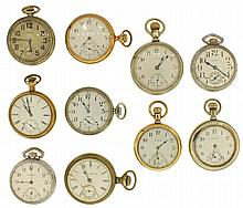 Pocket watches- 10 (Ten). American makers including Waltham, Elgin and Hampden, 18 and 16 size