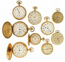Pocket watches- 9 (Nine): Makers including Waltham, Elgin, South Bend, Howard, Ingersoll - Trenton, and Hampden, 18, 16, 12, and 6 size, two with O'Hara style dials, 7 to 19 jewels, open face and hunting cases, one with box hinge