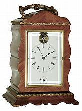 French tulipwood, 8 days, time, strike and alarm carriage clock with visible cylinder escapement balance wheel, c1870