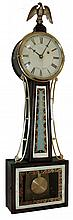 Herschede Clock Co., Cincinnati, mahogany, 8 days, time only, weight driven, banjo wall clock, 889 B on movement, c1920