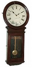 Boston Clock Co., Boston, Mass, for retailer Daniel Pratt's Son, 8 days, weight driven, timepiece in a cherry wall hanging case, c1895