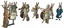 Vienna Bronze Rabbit Orchestra with 11 (Eleven) miniature cold painted figures, ten rabbit musicians headed by conductor, all cast in Austrian bronze, c1900