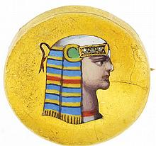Pin, 14 karat yellow gold Egyptian Revival style with polychrome enamel bust in profile, and set with 3 small diamonds, 1