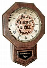 New Haven Clock Co., LUCKY STRIKE advertising clock, 8 days, spring, time only, with gold leaf tablet for: