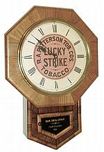 New Haven Clock Co., LUCKY STRIKE advertising clock, 8 days, spring, time only, with gold leaf tablet for