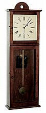 Joseph E. Brown, Sudbury, Mass., reproduction Shaker-style wall clock, after Isaac Newton Youngs of Mt. Lebanon, NY, 8 days, time only, weight driven, banjo type movement in a cherry case with painted metal dial, serial number 1, c2008
