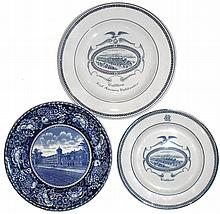 Waltham American Watch Company English souvenir China dinner plates- 3 (Three) views of the factory: by Wedgwood (2) and R&M; Co., Staffordshire.