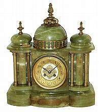 French, for Wier & Sons, Dublin, (Ireland) green onyx and cast brass architectural, 8 days, time and strike, mantel clock, Marti Medaille D'Or movement, 1905 presentation