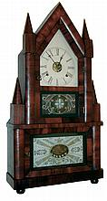 Birge & Fuller, Bristol, Conn., 30 hours, time and strike, wagon spring brass movement double steeple shelf clock, c1845