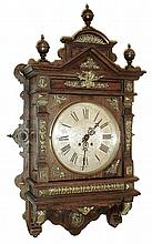 Lenzkirch, Germany, gallery clock, architectural oak case with applied cast ornament, top with turned finials, also with applied brass decoration Roman numeral silvered dial, black painted steel hands, 8 days, time and strike, movement, serial