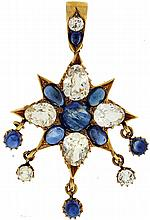 Pendant, 18 karat yellow gold star form with 5 drops, all set with blue cabochon and faceted white sapphire, 2