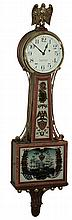 Foster Campos, Pembroke, Mass., miniature, 8 days, time only, banded mahogany banjo wall clock, Moberg glasses, c1980