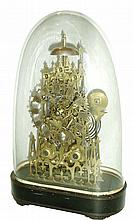 English, 2-Fusee, Architectural skeleton clock, striking the hours on a deep gong, and the halves on the top bell, mounted to a veneered base with original dome. Traditional recoil escapement, c1870