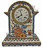 French, Faience pottery clock done in the country