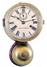 Seth Thomas Clock Co., Thomaston, Conn., 30 hour outside bell brass ship's bell striking marine wall clock,