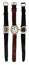 Wrist watches- 3 (Three): The first an Omega, 15 jewel nickel movement, Arabic numeral white enamel dial, 14 karat yellow gold cushion case, serial #5288428, 36.9g TW, the second a Gruen, 21 jewel cal. 335 movement, black metal dial, square, white