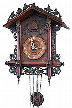 Clocks- 2 (Two) Cuckoo German 2 weight carved wood hanging clocks: (1) Gordian Hettich & Sohn antique 30 hour railway style, c1900; (2) Schatz modern 8 day with hunter motif of rabbit, bird, guns, etc.;